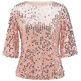 Women Sequin Sparkle Glitter Tank Coctail Party Tops T-Shirt Blouses (XXXX-Large, Pink Gold)