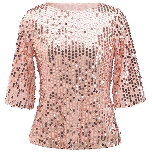1/2 Sleeve Top (Women Sequin Sparkle Glitter Tank Coctail Party Tops T-Shirt Blouses (M, Pink Gold))