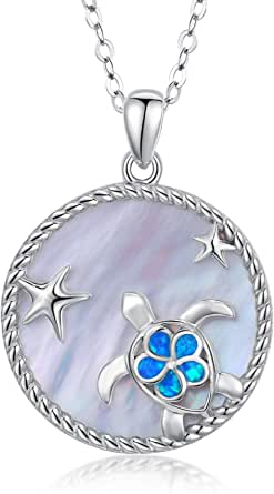 N2363 Birthday Mom Valentine Gift Unique Hawaiian Large Opal Ocean Wave Necklace Island Jewelry Sterling Silver Blue Opal Wave Pendant