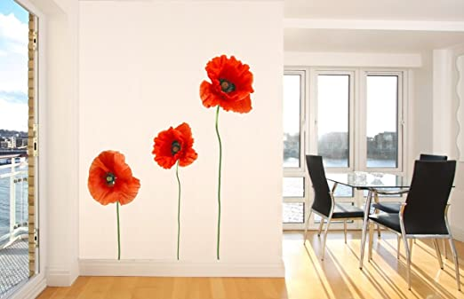 Wandsticker Mohnblume Nr 204 Bunte Wandaufkleber Wandgestaltung Deko Amazon De Kuche Haushalt