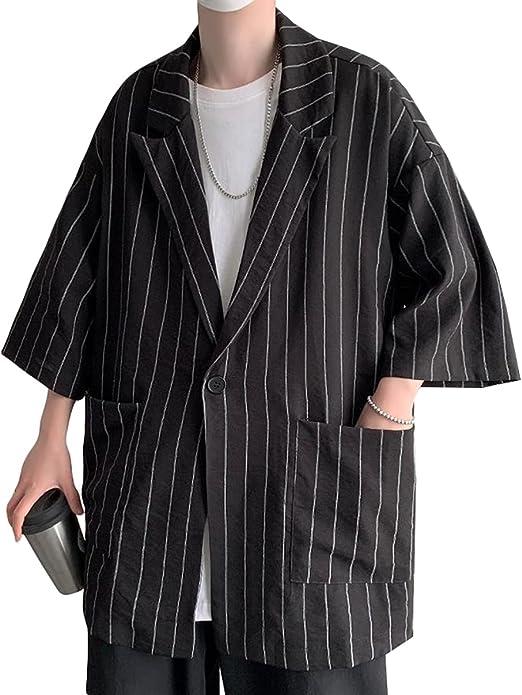 [ShuMing]テーラードジャケット メンズ ジャケット スーツ ストライプ 薄手 サマージャケット 七分袖 カジュアル ゆったり アウター ブレザー ポケット付き おしゃれ 夏 大きいサイズ