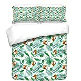 iPrint Duvet Cover Set,Watercolor,Coconut Fruit Exotic Nature Palm Tree Leaves Aloha Hawaii Polynesian Food,Green Pale Brown,Best Bedding Gifts for Family Or Friends