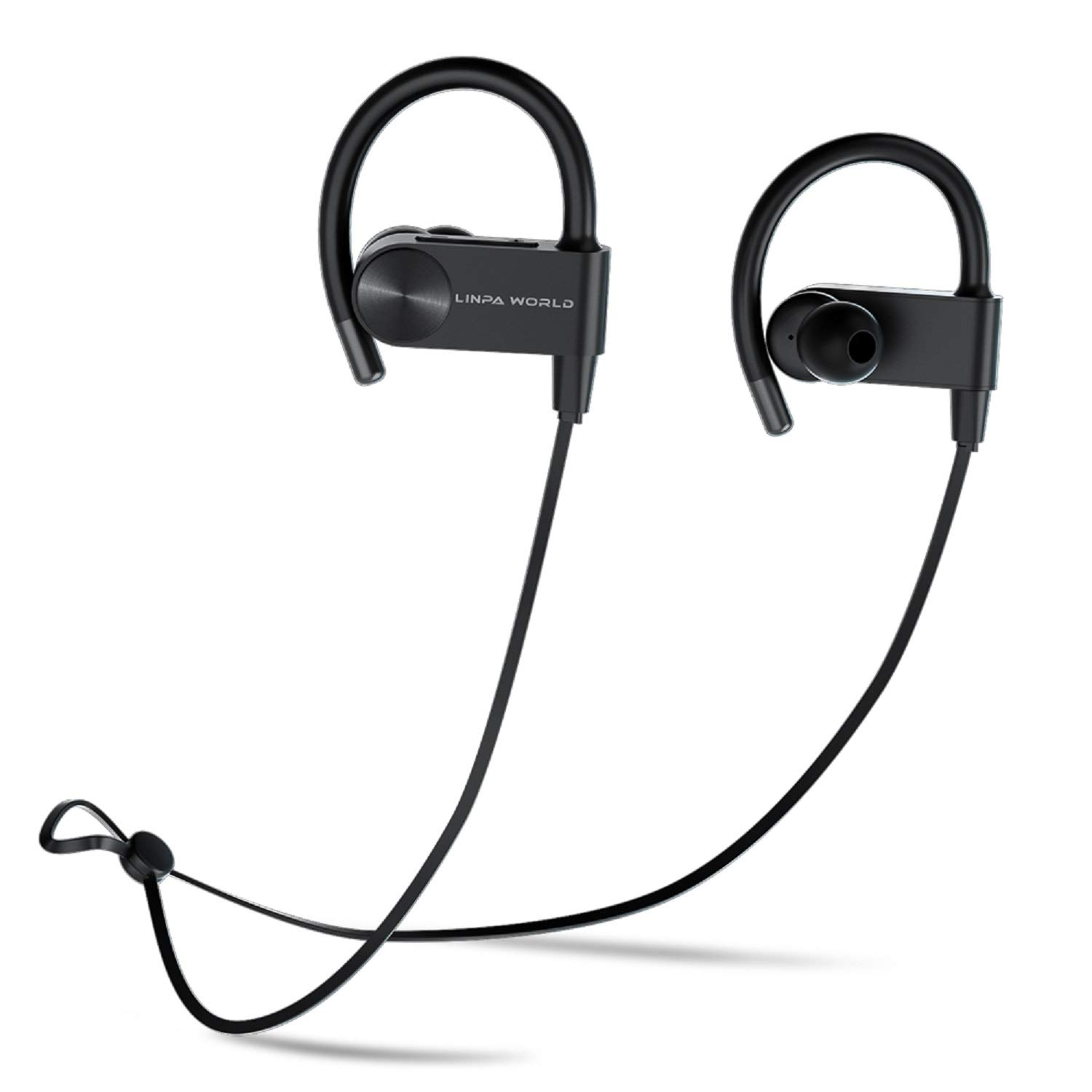 Sports Bluetooth Headphones L LINPA WORLD LEB56 Wireless Earbuds Fast Fuel Waterproof Bluetooth 5.0 HiFi Bass Stereo Earphones with Microphone 12 Hours Playtime for Workout Running Headset-Black