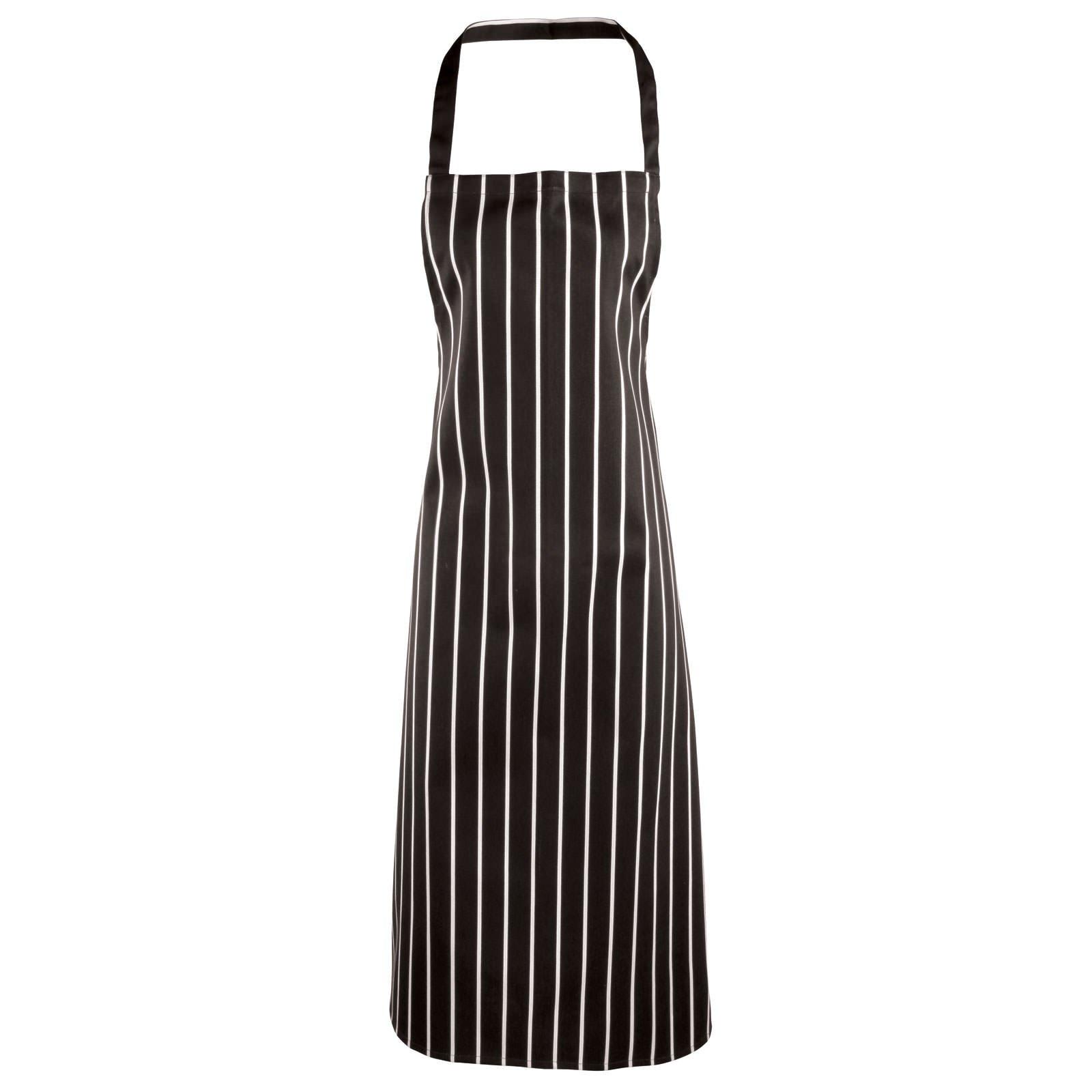 Premier Stripe Apron. - Black/Grey Fine Stripe