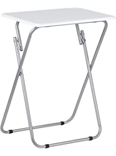 premier housewares folding table with silver frame 48 x 38 x 66 cm white