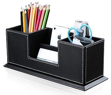 Multifuncional organizador de escritorio con 4 compartimentos Ranger tarjetero/teléfono portátil/papelería/grapadora/mando a distancia Portalápices de piel sintética caja almacenaje para oficina casa: Amazon.es: Oficina y papelería
