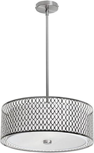 Dainolite Lighting 1015-17P-SC 3 Light Glass Diffuser Pendant, 17 Lx17 Dx17 Wx6 25 H, Satin Chrome