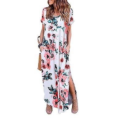 Kleid Damen Lang Schlitz Sommerkleid V Ausschnitt Minikleid Kurzarm Drucken  Kleider Elegant Freizeitkleid Locker (Weiß 944fdba1ac
