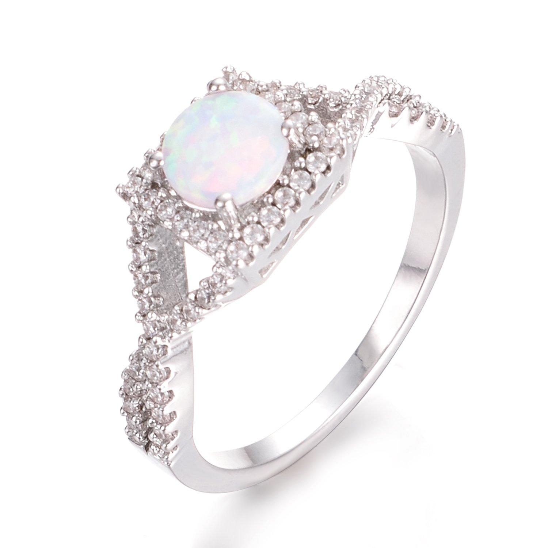 Yoursfs Opale argento gioiello anello in oro bianco 18ct placcato anello ovale Cabochon bianco simulato opale per le donne Italina
