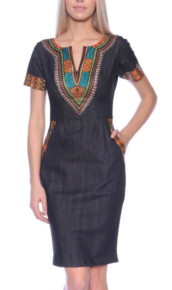shekiss Women's African Bodycon Dashiki Midi Denim Dresses Pockets Bohemian Vintage Print Club