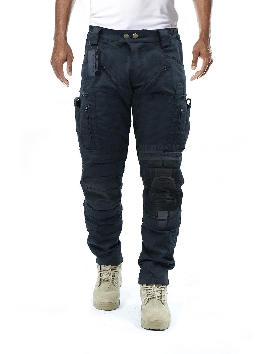 Survival Tactical Gear Men's Airsoft Wargame Tactical Pants with Knee Protection System & Air Circulation System (Iron Black, L) by Survival Tactical Gear