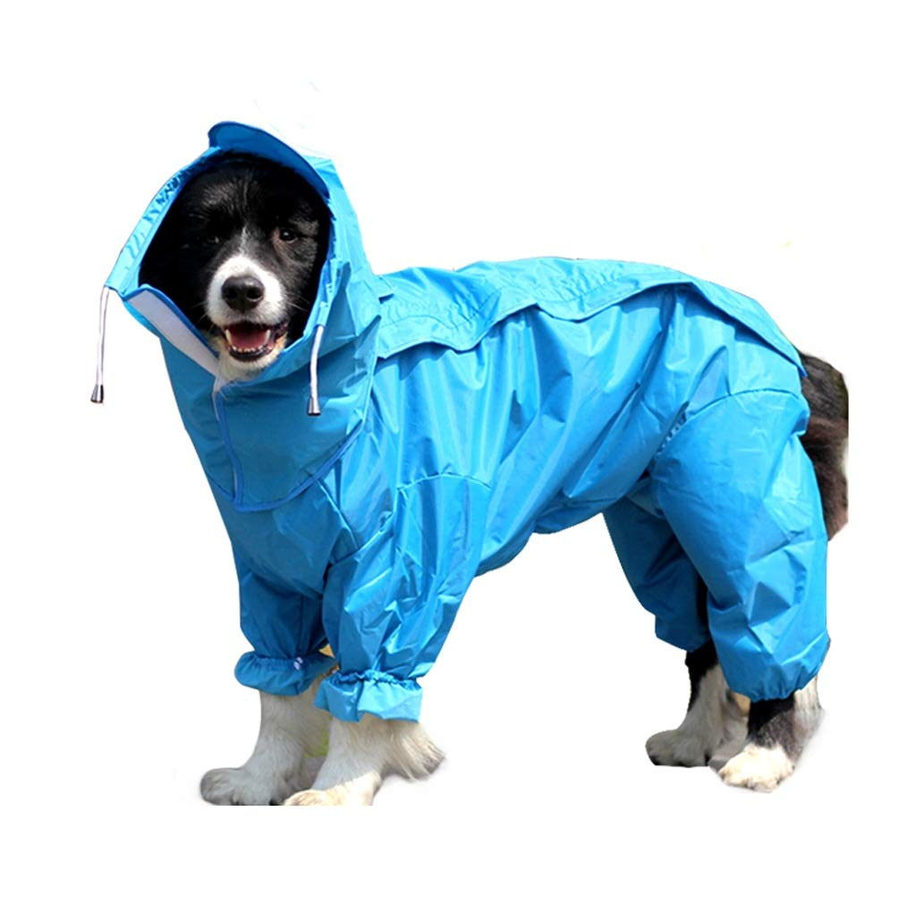 Raincoat All Inclusive Poncho Dog Waterproof Sunscreen Cap Small Medium and Large Four Feet Pet Clothes Outdoor Sports 2 Color MUMUJIN (Color : Blue, Size : 24(15-20kg))