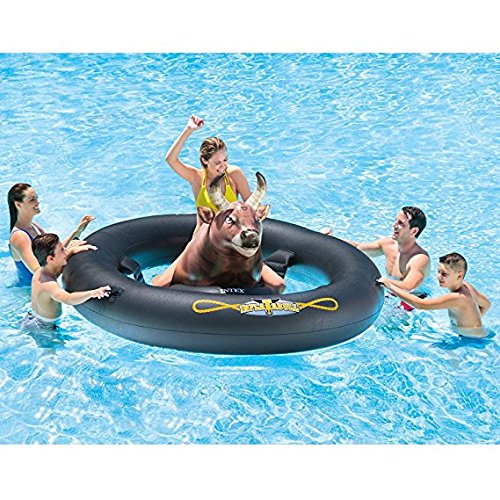 (Adult Inflat-A-Bull with PUMP, Mechanical Inflatable Lake River Pool Beach Floaties Floats Ride On Pool Toy, 96