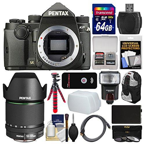 Pentax KP Wi-Fi Digital SLR Camera Body (Black) with 18-135mm Lens + 64GB Card + Backpack + Flash + Battery + Tripod + Filters + Kit