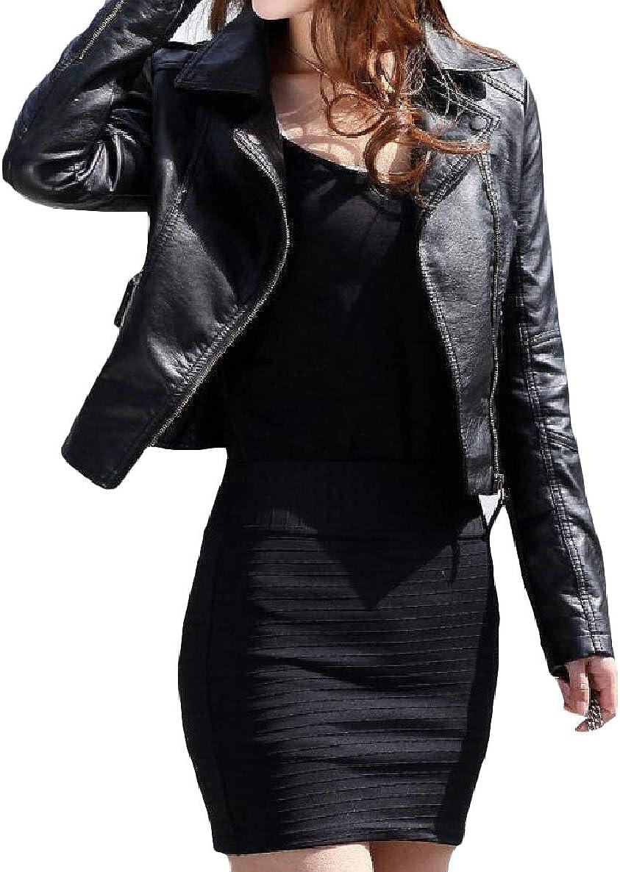 WillingStart Womens Stylish Slim Lapel Solid Short Mini Zip Long-Sleeve PU Jakcet