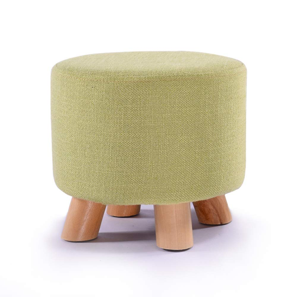 Round Matcha BOOSC Simple Style Entrance Change shoes Bench Living Room Round Sofa Stool Wooden Fabric Stool Cotton and Linen Seat Kitchen Low Chair Makeup Stool (color   Round, Size   Stripes)