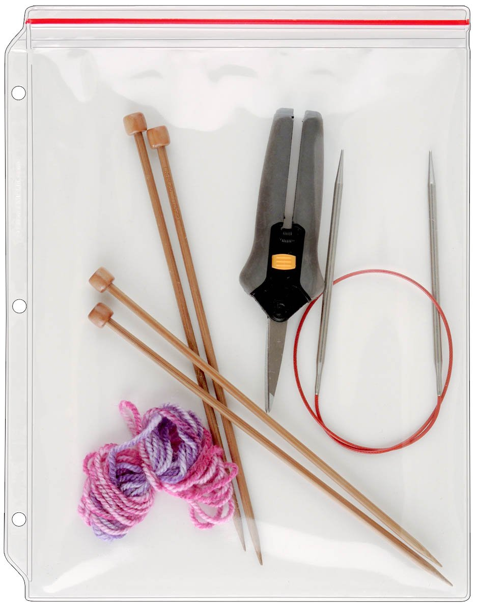 StoreSMART - Zip-Top Knitting Supplies Binder Page - 8 1/2'' x 11'' - 100-Pack - VH309-KNIT-100 by STORE SMART (Image #1)