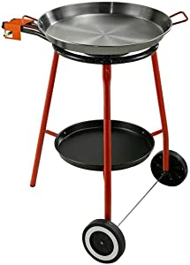 Garcima Andreu Paella Pan Set with Burner, 18 Inch Carbon Steel Outdoor Pan and Reinforced Legs Imported from Spain (12 Servings w/wheels)