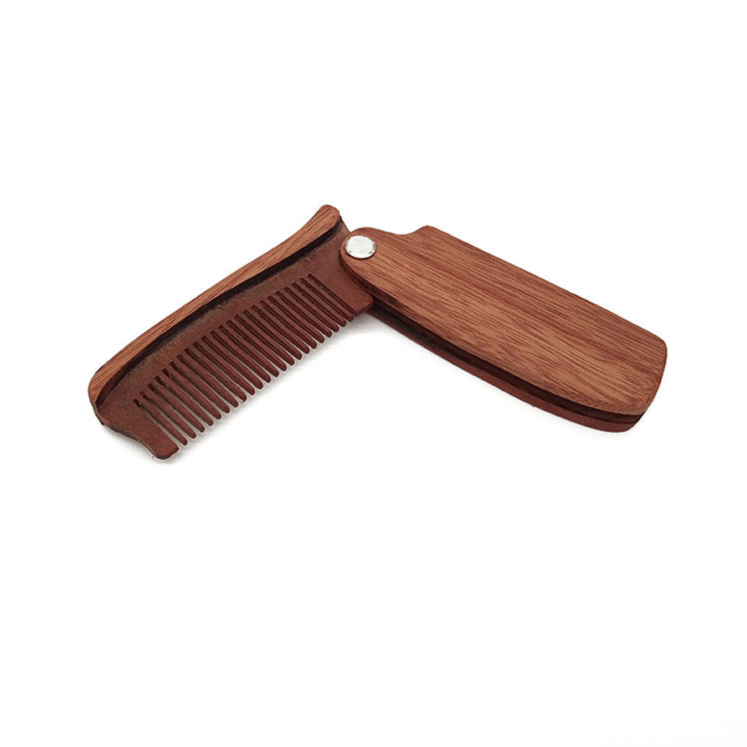 Anti-Static Wooden Folding Wood Comb, Great For Men Head Hair And Beards Styling