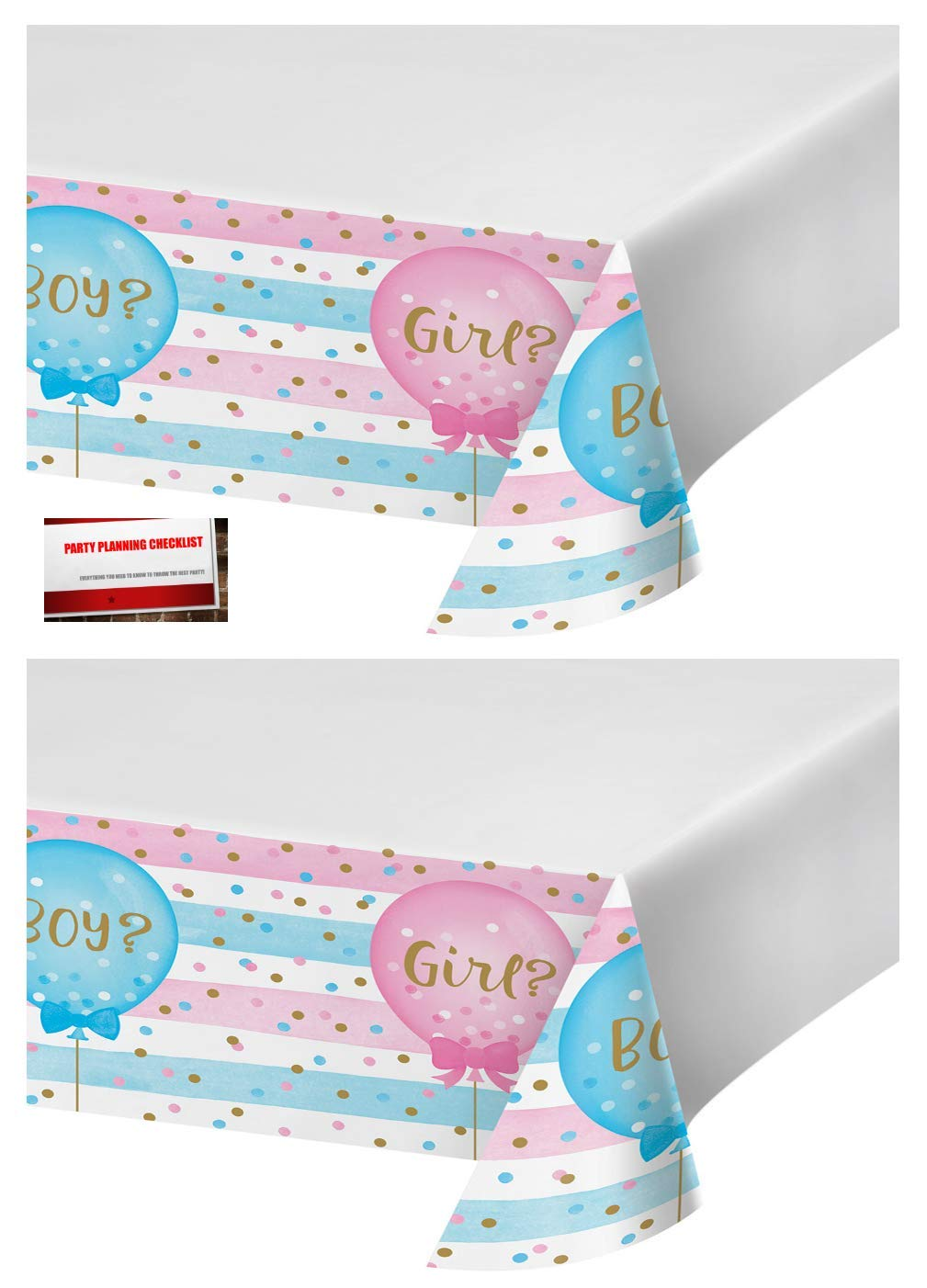 2 Pack - Gender Reveal Girl or Boy Bow or Bow Tie Party Plastic Table Cover 54 x 102 Inches (Plus Party Planning Checklist by Mikes Super Store)