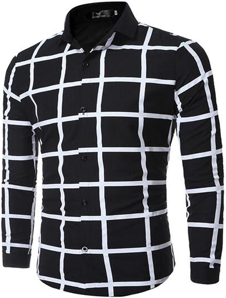 Camisa de Hombre geométrico Camisa Camisa a Cuadros de Moda, Negro XXXL: Amazon.es: Ropa y accesorios