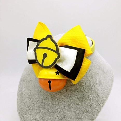 Dixinla Collar de Perro Gato de Adorno de Piel Amarilla Mariposa Nudo Bell Atar el Anillo