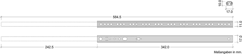 Gedotec Schubladen-Schiene Teilauszug 17 mm Teleskopschiene K/üche Kugelauszug f/ür M/öbel L/änge: 310 mm Schrank-Ausz/üge 10 St/ück Stahl verzinkt Tragkraft 12 kg Auszugsschiene kugelgelagert