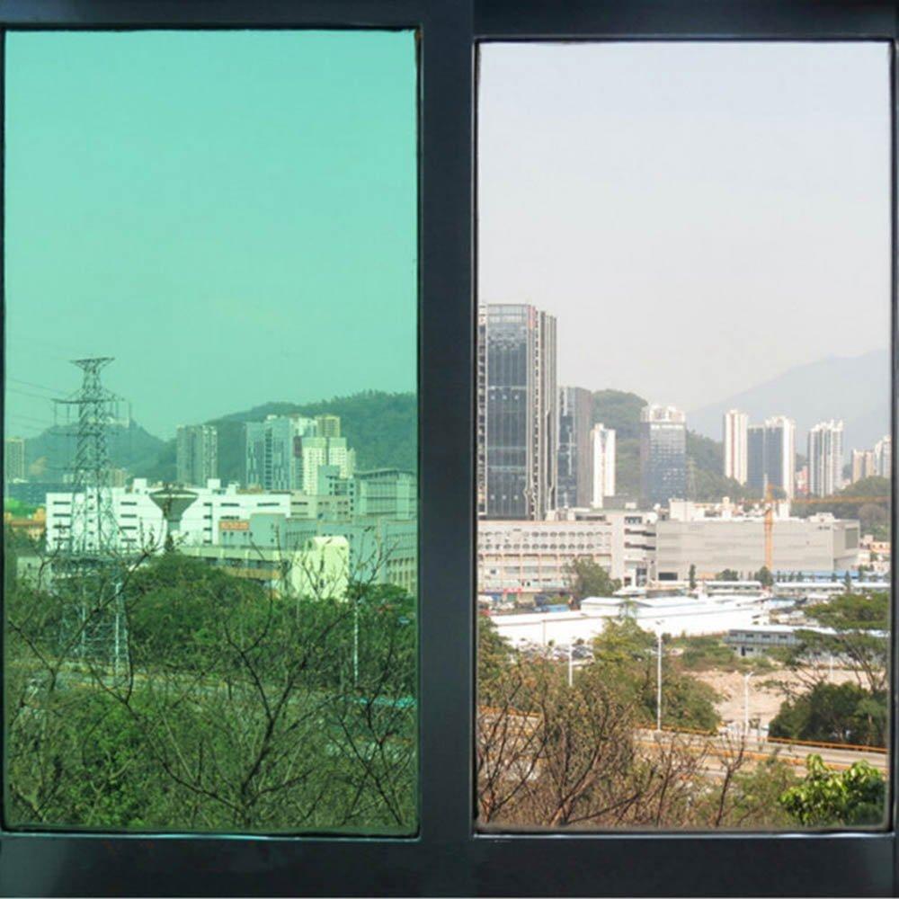HOHO Green Decoration Solar Tint Window Film Self-Adhesive for Kitchen,Bathroom Windows,60''x98ft Roll