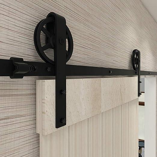 228CM/7.5FT puertas acero puerta corrediza de granero Hardware Herraje para Puerta de Granero Corredera de: Amazon.es: Bricolaje y herramientas