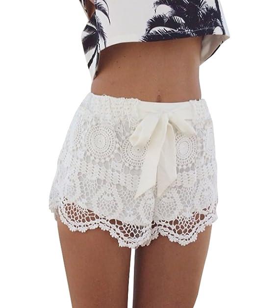 Amazoncom Creabygirls Sweet Scallop Hem Crochet Lace Shorts With