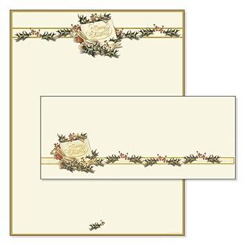 vintage holly christmas stationery u0026 matching envelopes set of
