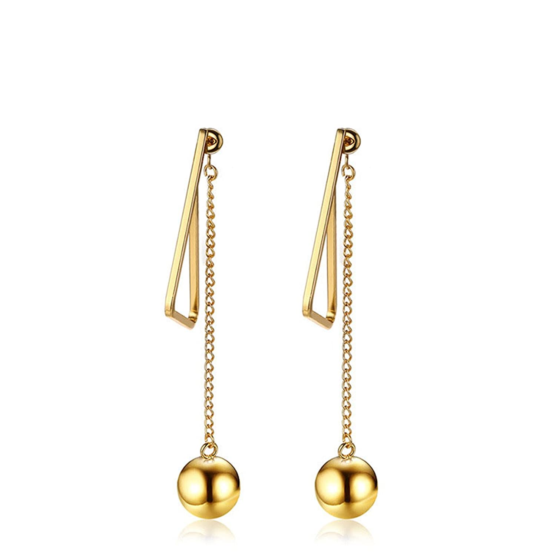 ANAZOZ Stainless Steel Womens Drop Earrings for Teen Girls Gold 1.2x7.6CM
