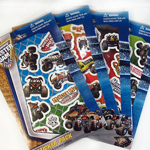 Monster Jam Sticker Pack Stickers - Includes 4 Stickers Sheets