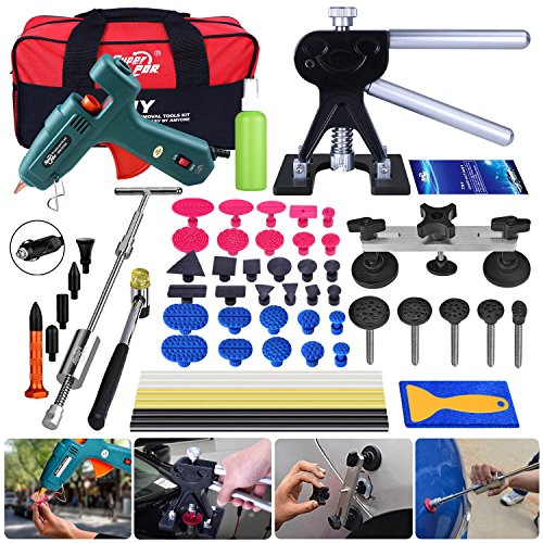 Super PDR 51pcs PDR Tool Set Automobile Car Body Paintless Dent Repair Remover Tools Kit Hail Damage Repair Tools Dent Lifter Bridge Puller Glue Gun with Slide Hammer by Super PDR