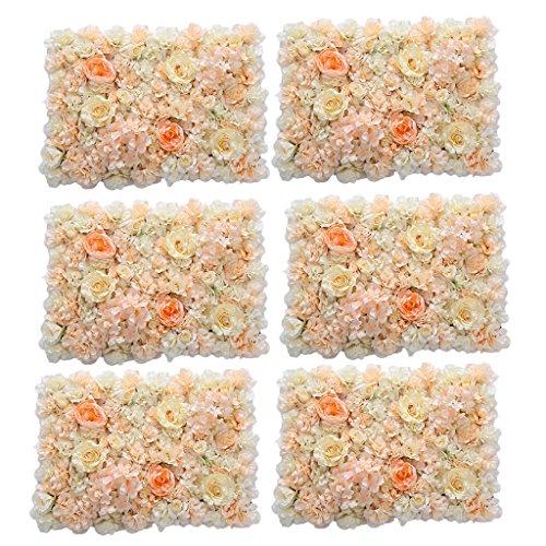 - MonkeyJack 6 Pieces Romantic Artificial Flowers Wall Panel Wedding Venue Floral Decor Orange