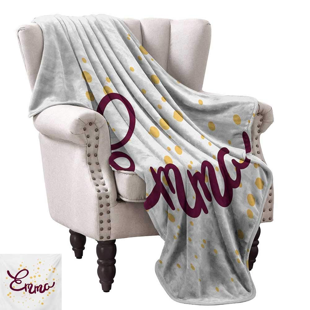 color02 54 Wx72 L WinfreyDecor Emma Decorative Throw Blanket Feminine Girl Name Design with Ornate Balloons Mainstream Female Themed Illustration Traveling,Hiking,Camping,Full Queen,TV,Cabin 60  Wx60 L Multicolor