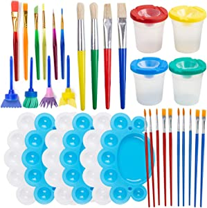 BigOtters Painting Tool Kits, 34Pcs Paint Supplies Include Paint Cups with Lids Palette Tray Muti Sizes Paint Pen Brushes Set for Kids Gifts School Prizes Art Party