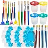 BigOtters Painting Tool Kit, 34Pcs Paint Supplies Include Paint Cups with Lids Palette Tray Multi Sizes Paint Pen Brushes Set
