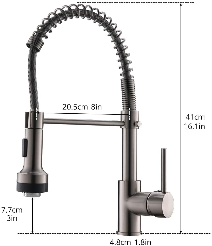 Modern Kitchen Faucet Pull Down Sprayer Stainless Steel Single Handle Kitchen Sink Faucet With Led Light Brushed Nickel Amazon Co Uk Diy Tools