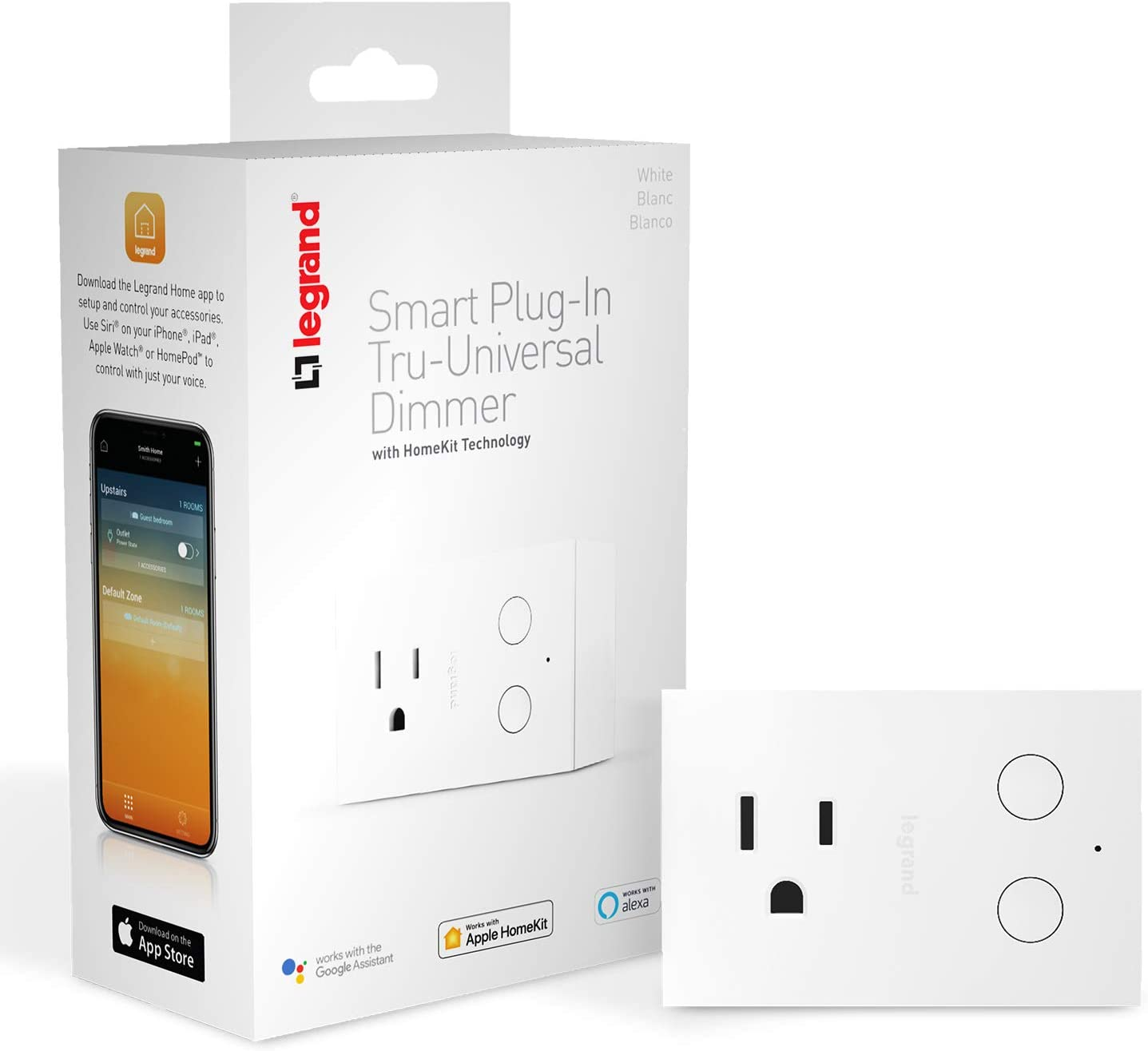 Legrand - OnQ HKRP20 Smart Switch Setup & Can Be Used Hub Works with Apple HomeKit, No Wiring Required, iOS only, White