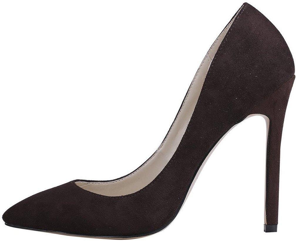 Calaier Mujer Cacrossing Tacón De Aguja 10CM Sintético Ponerse Zapatos de tacón 36.5|Marrón