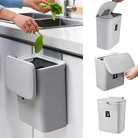 Amazon Com Aogist Hanging Trash Can With Sliding Cover Wall Mounted Trash Bin Waste Bin With Lid For Kitchen Cabinet Door Bathroom Toilet Bedroom Living Room Grey Industrial Scientific