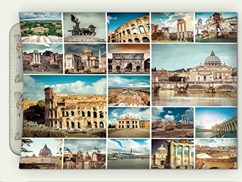 Custom Flannel Throw Blanket Italian Town Collage With Classic Heritage Monumental Details Coliseum Mediterranean Cityscape Multi Autumn Winter Warm HD Digitals Print Blanketry, 79
