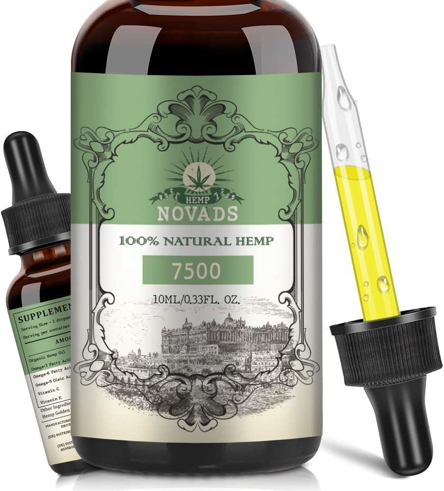 Aceite de cáñamo dorado, aceite orgánico de cáñamo, ingredientes 100% naturales de alta resistencia 10ML (7500MG)