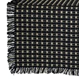 70 x 144 (Rectangle) Homespun Tablecloth, Hand Loomed, 100% Cotton, Black/Stone