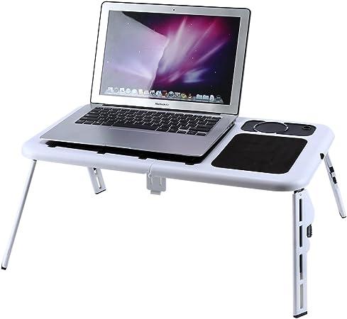 Mesa plegable de metal para computadora portátil, soporte de la bandeja del ventilador con alfombrilla para