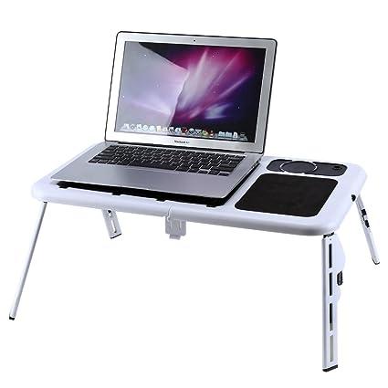 Bandeja de Cama Ajustable para Ordenador portátil, Plegable Soporte para portátil PC portátil Mesa sofá