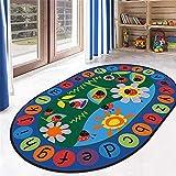 LISIBOOO ABC Ladybird Sunflower Alphabet Kids Rug,Non-Slip Vibrant Oval Play Mat,Multicolor Child Large Carpet,for Boy Girl Baby Playroom Bedroom Study Room Nursery Living Room (4'7''x6'6'',Ladybird)