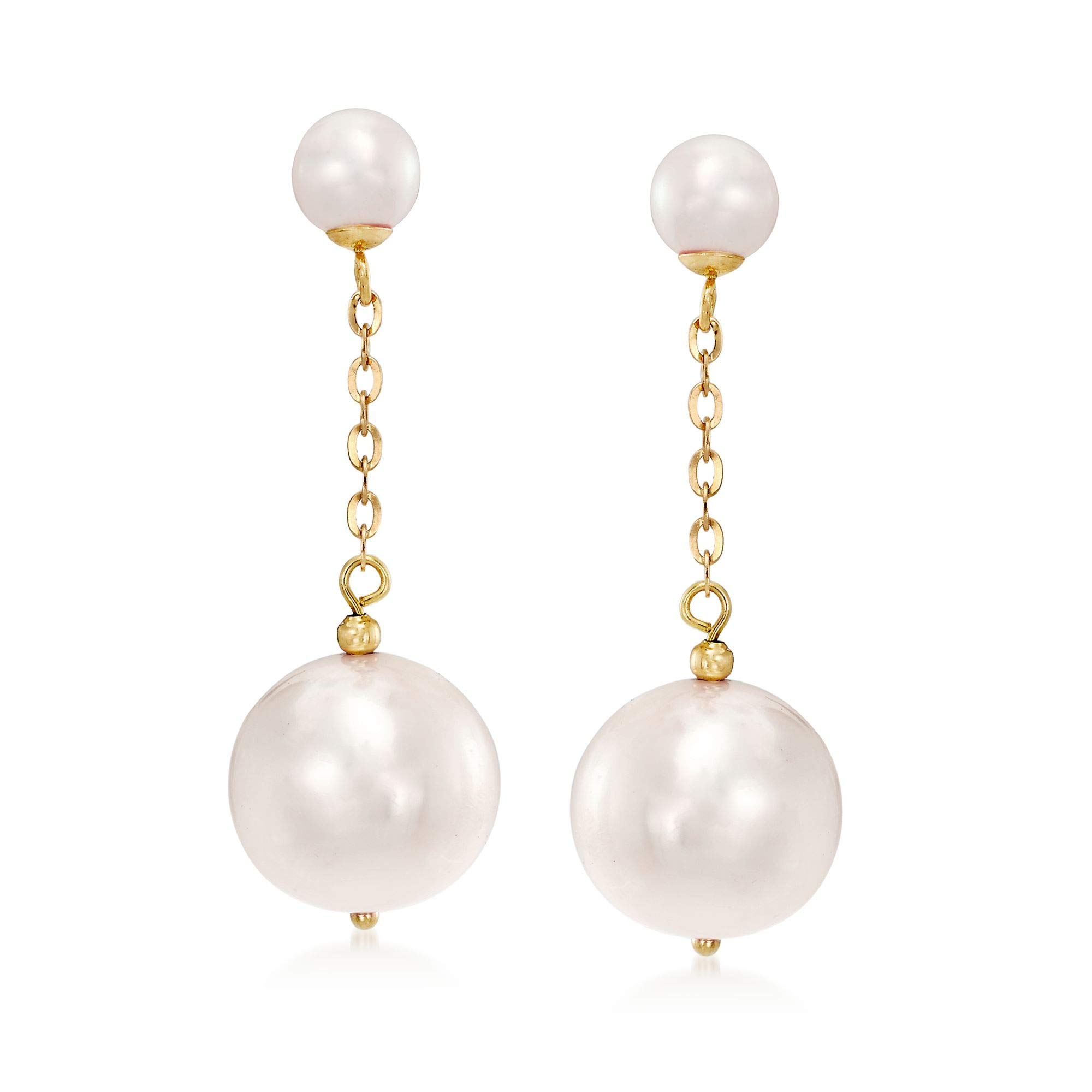 Ross-Simons 5.5-13mm Cultured Pearl Drop Earrings With 18kt Yellow Gold