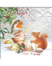 20 servetten eekhoorntjes / vogel in de winter / dieren / winter / Kerstmis / Robin